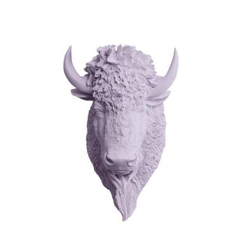 The Yellowstone | Mini Buffalo Bison Head | Faux Taxidermy | Lavender Resin