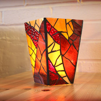 Purple Stained Glass Vase/Candleholder, Mosaic Candle Holder, Purple Stained Glass Vase