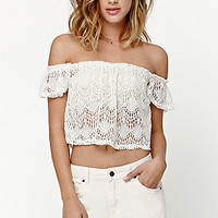 LA Hearts Allover Crochet Off-The-Shoulder Top at PacSun.com