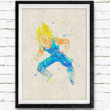 Super Saiyan Vegeta Watercolor Print, Dragon Ball Baby Nursery Room Art, Minimalist Home Decor Not Framed, Buy 2 Get 1 Free!