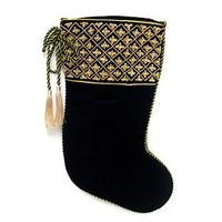 Christmas Stocking, Fully Lined, Metallic Twist Rope, Gold Tassels, Faux Pearls