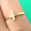 Classic Cross Shaped Sideways Bar Shaped Ring in Gold | Size 6 Only