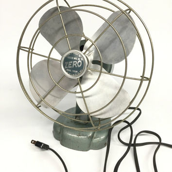 Antique Desk Fan, Vintage Zero 1250R Desk Fan, Retro Desk Fan, Adjustable Fan, Industrial Fan, Mad Men Style Office Decor