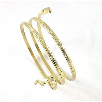 Fashion Punk Coiled Snake Spiral Upper Arm Cuff Bangle Bracelet Twisted Wire Bangles