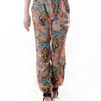 Printed Drawstring Waist Pants