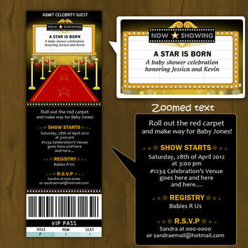Hollywood BABY SHOWER invitation - A Star is Born Baby Shower Printable Invitation (couple baby shower)
