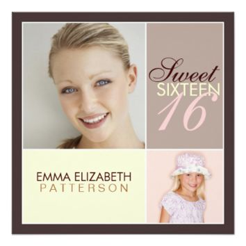 Modern Photo Square Sweet Sixteen Birthday Party 5.25x5.25 Square Paper Invitation Card