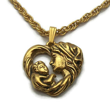 Vintage Avon Mother and Child Gold Tone Heart Pendant Necklace - Gift for New Mom Baby Infant - 20 inch Chain