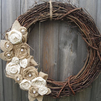 Burlap Wreath with Muslin & Pearls