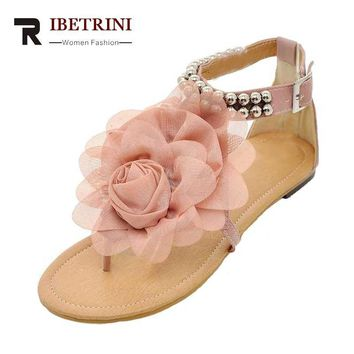 Big Size 34-43 women's Footwear Female Sandals Gladiator Flower Beading Less Platform