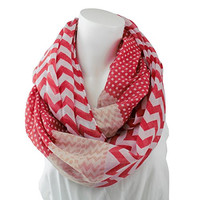 Women's Multi Pattern Coral Red and Beige Chevron Infinity Scarf with Dots - Pop Fashion