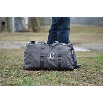 Personalized Canvas Duffle Bag, Mens Weekender Bag, Monogrammed Mens Overnight Travel Bag, Groomsmen Gift