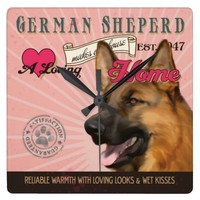 A Loving German Sheperd Makes Our House Home Square Wallclocks