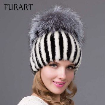 PEAPU3S 2017 new Real knitted Mink Fur Hat with silver Fox Fur Caps pom poms for women winter beanies fur hats flexible flat brim DHY-26