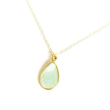 Mint Green Light Druzy Geode Gemstone Natural Stone 14k Gold filled Pendant Necklace. Modern and Minimal Jewelry. Gift for Her
