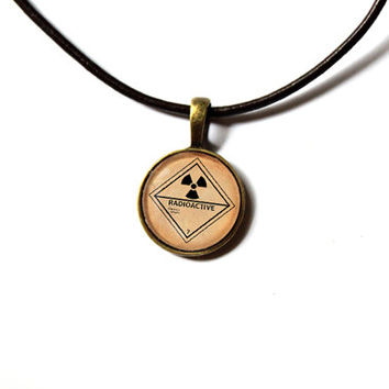 Radioactive pendant Fallout necklace Post nuclear jewelry Antique style n253