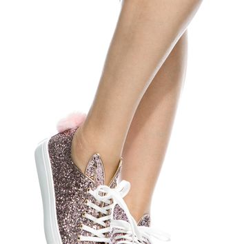 Pink Glitter Fur Pom Lace Up Sneakers @ Cicihot Women Sneakers-Fashion Sneakers,Casual Sneakers,Wedge Sneakers,Platform Sneakers,Hidden Wedge Sneakers,High Top Sneakers,Lace Up Sneakers,Studded Sneakers,Buckle Sneakers