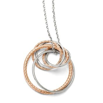 Leslies Sterling Silver Rose-tone Flash Plated Necklace with 2in ext