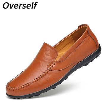 New Handmade Men Loafers Genuine Leather Luxury Brand Men's Dress Shoes High Quality Breathable Mens Flats Brown Shoes Moccasins