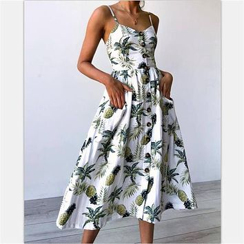 Women Fashion Beach Summer Dress Casual Long Party Dress Print Bohemian Elegant Sundress