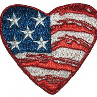 Heart Iron-On Patch American Flag