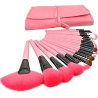 New 24 Pcs/Set Makeup Brush Cosmetic Set Kit Packed In High Quality Leather Case - Pink