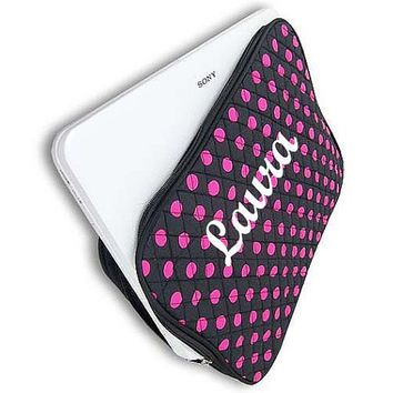 Monogrammed Laptop Sleeve  Black and Fuschia Polka Dot Personalized Laptop Case  Embroidery Monogram Laptop Bag