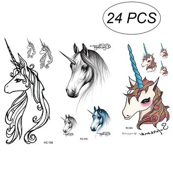 24Pcs Temporary Tattoos Unicorn Waterproof Stickers Party Supplies Party Favors for Boys Girls