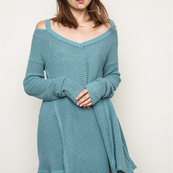 Over the Moon Cold Shoulder Waffle Knit Sweater in Sage