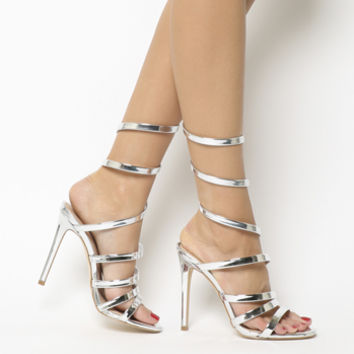 Office Hundred Heel Strappy Sandals Silver Mirror - High Heels