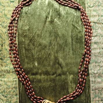 Vintage Handmade Oval Wood Bead Necklace With Gold Accent Rings