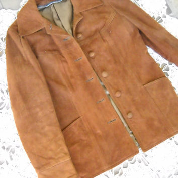 Copper Kettle Bronze Finest Suede Western Styled Jacket Suede Covered Button 2 front pockets Nice lining Leather by New England Peabody Mass