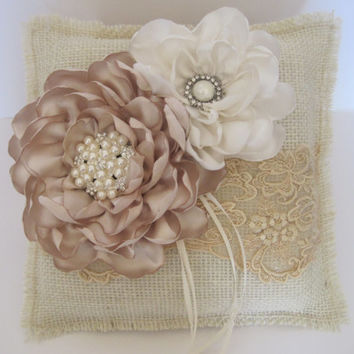 Ring Bearer Pillow Ivory Burlap and Champaign Lace with Light Champaign and Ivory Flowers and  Pearl and Rhinestone Accents