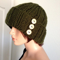 Knitted winter Beanie in Forest Green