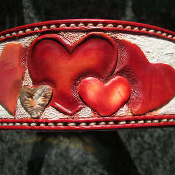 Large leather dog collar 1219 , custom dog collar , X-large collar , hearts leather collar,