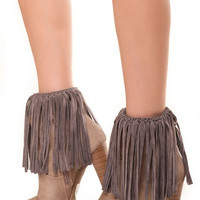 Boho Western Suede Fringe Boot Cuffs - Turn Any Shoe into a Fringed Bootie!