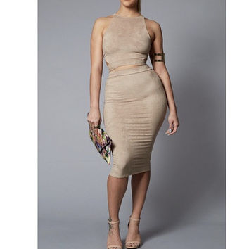 Per Suede Me Micro Suede Extended Midi Dress Set