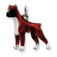 Enameled Boxer Dog Charm in Sterling Silver