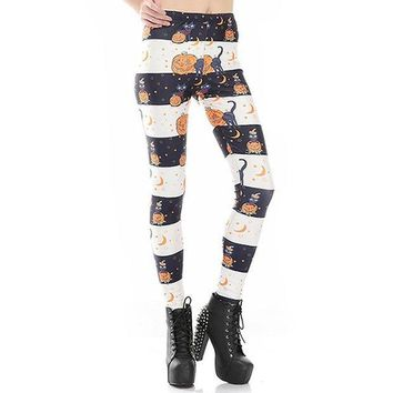 PEAPON New Arrival 3590 Sexy Girl Halloween Black cat Jack O Lantern Printed Elastic Fitness Polyester Workout Women Leggings Pants