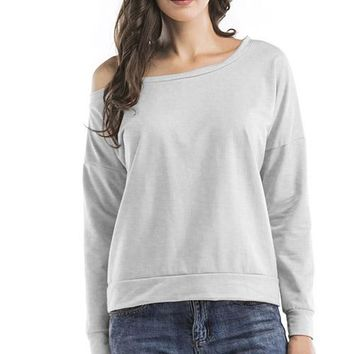 Off-Shoulder Long Sleeve Sweatshirt Tops