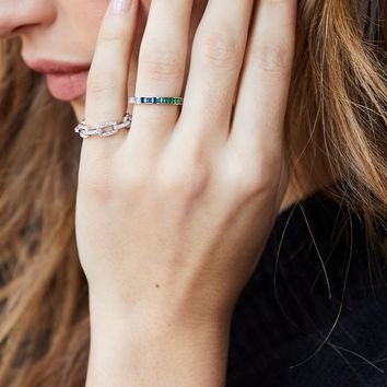 Dylan Skye Crystal Chain Link Ring