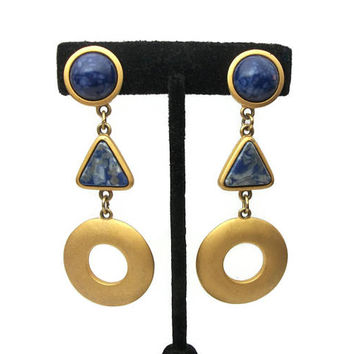 Vintage Signed Express Long Dangle Clip on Earrings Gold Tone with Blue Cabochons, 3 inch Geometric Boho Chunky Jewelry, Marbled Blue Swirl