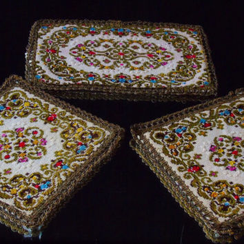Vintage Doilie Set Group Muylle Belgium Craft Floral Needlepoint Chenille Tapestry Centerpiece Doily's