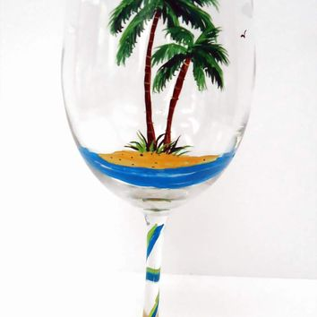 Palm Wine Glass  Beach Wine Glass  painted by Pendragonartworks