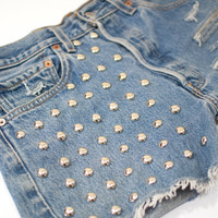 Torn And Frayed- Recycled Vintage Levis Studded Denim Blue Jean Cutoff Shorts- 30 Inch Waist