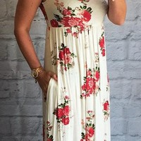 Pretty in Ivory Floral Pocket Maxi Dress