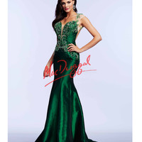 Mac Duggal 82303M Open Back Flared Emerald Green Dress 2015 Prom Dresses