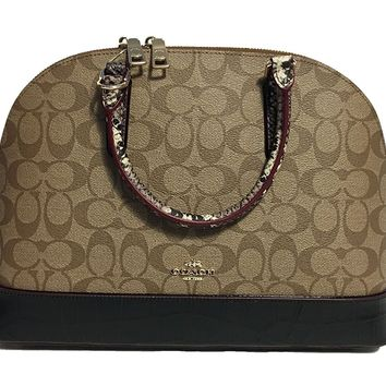 Coach Signature with Eotic Mix Sierra Satchel Purse Bag