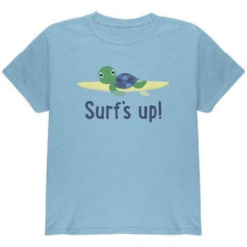 CREYCY8 Sea Turtle Surf's Up Summer Cute Youth T Shirt