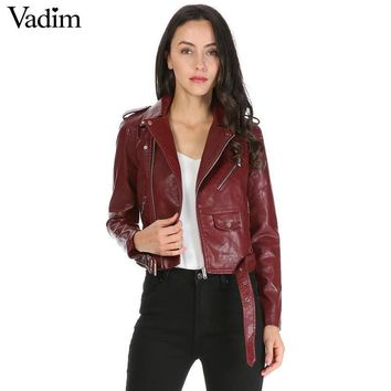 Candy color faux PU leather short motorcycle jacket